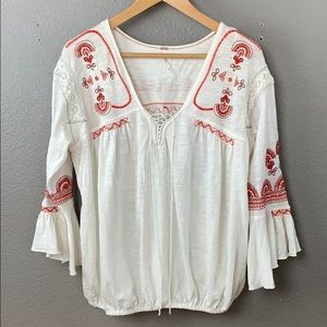 Free People white with red embroidery peasant top